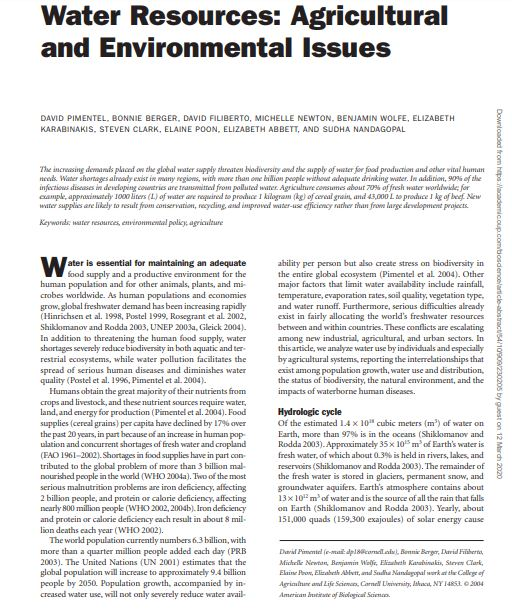 Water Resources: Agricultural and Environmental Issues